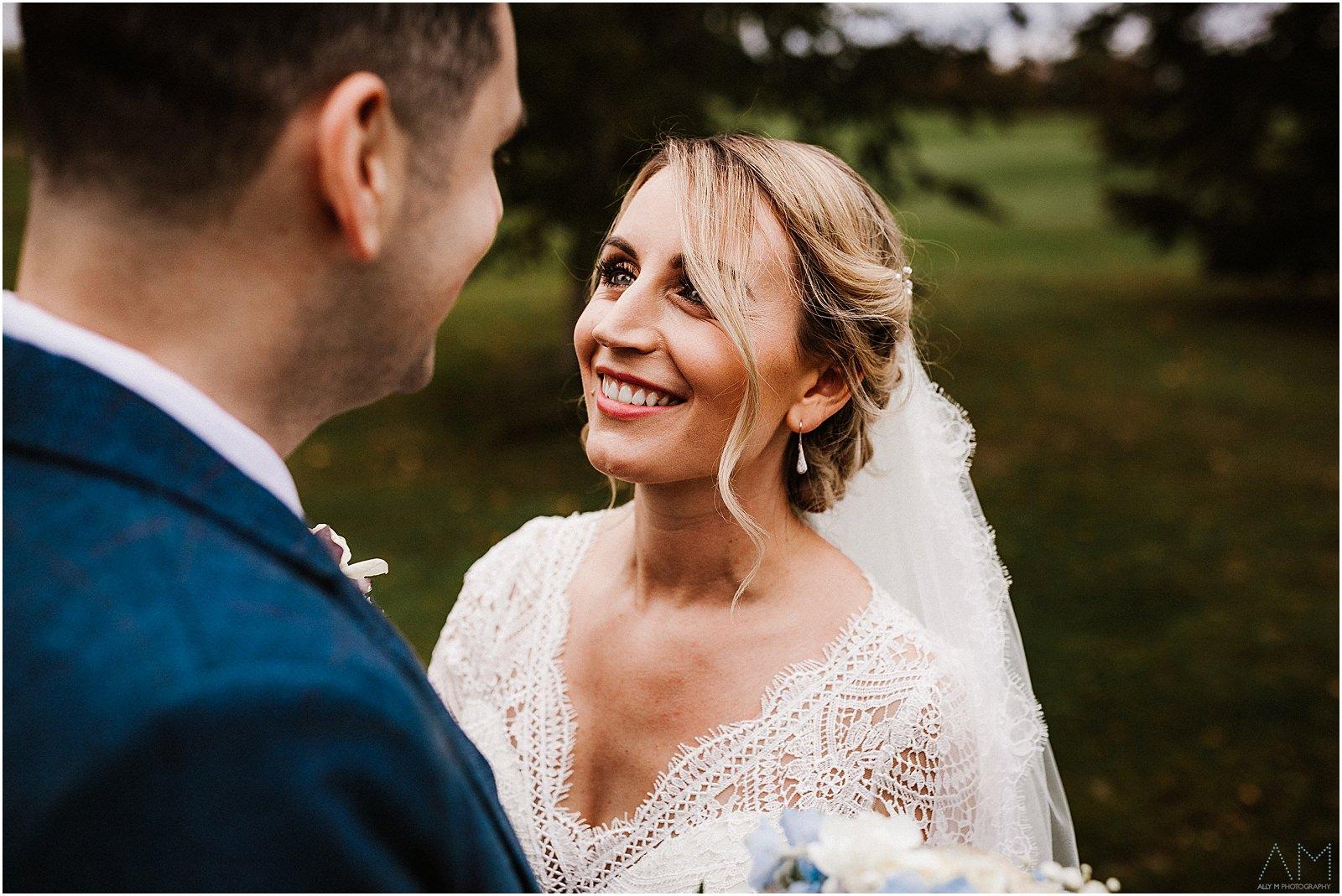 Bride smiling at her Man at delamere manor