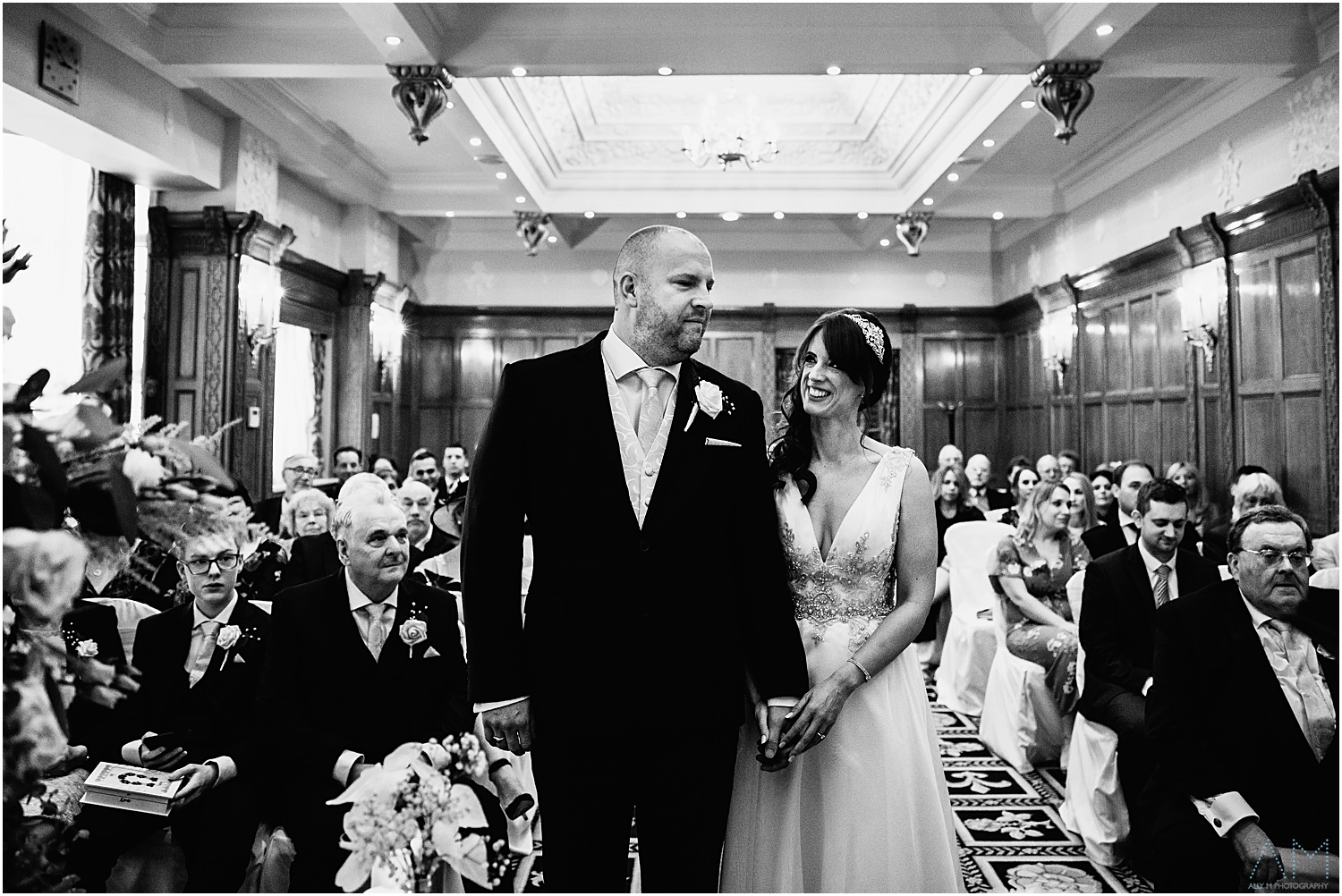 Bride and groom during ceremony at The Midland Hotel