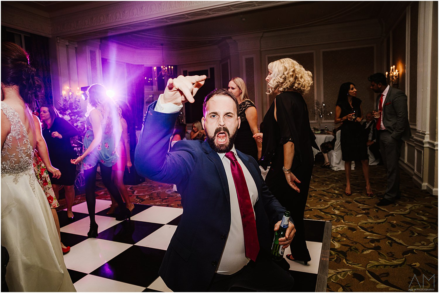 Wedding guest on dance floor