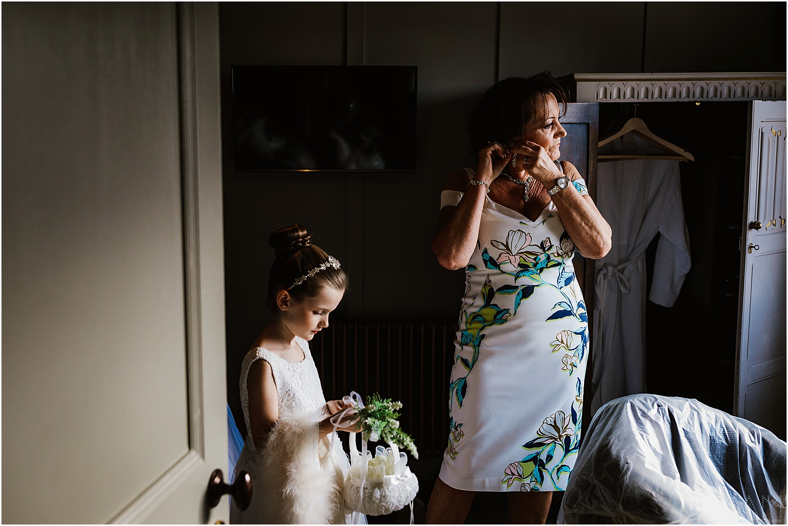 Grandma and daughter getting ready for the wedding