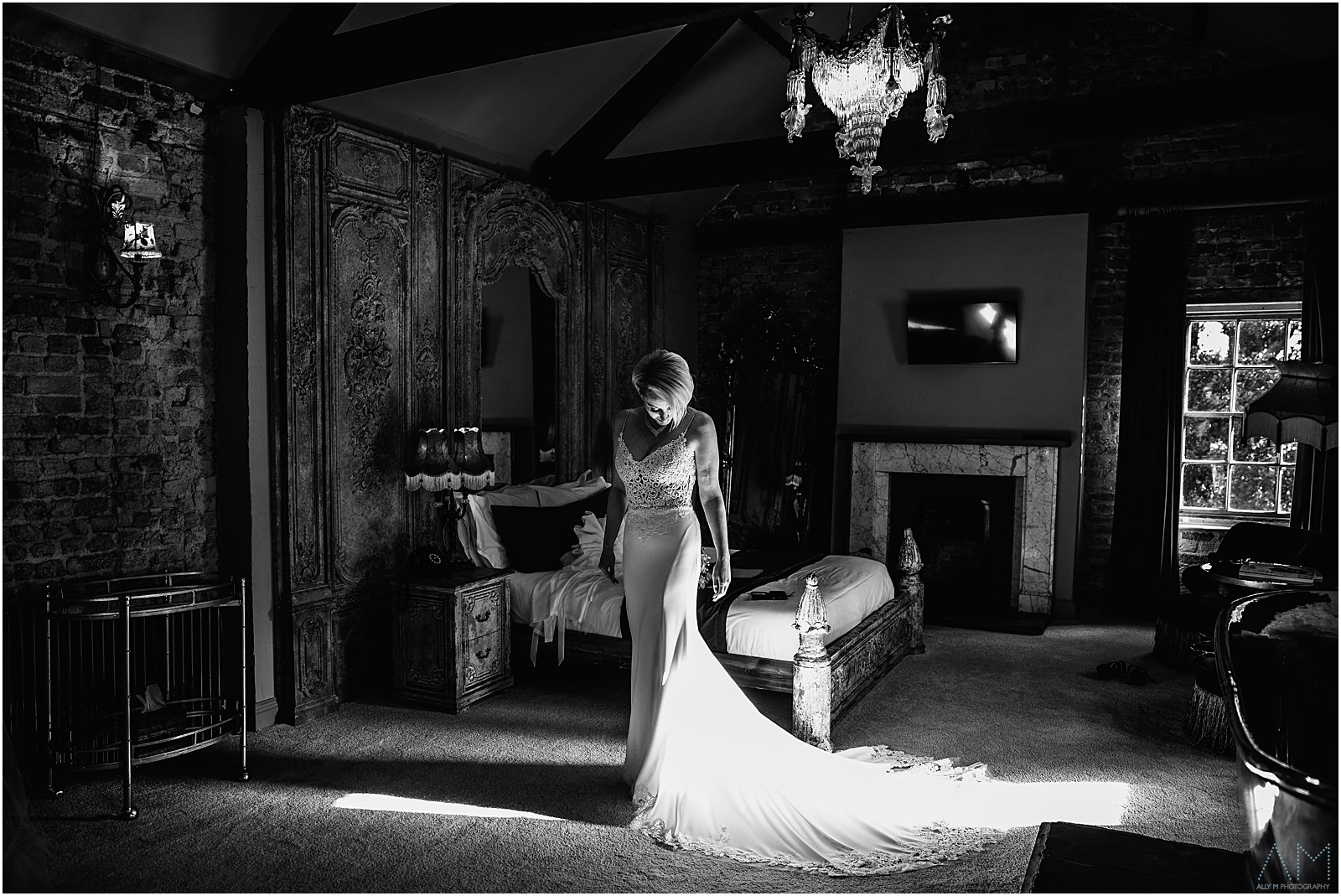Bride in her wedding dress at Le Petit Chateau