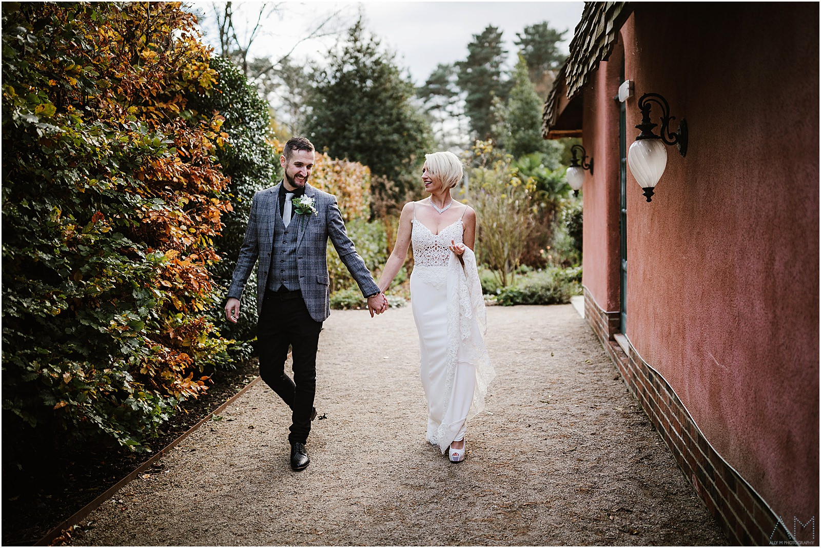 Bride and groom walking togther at Le Petit Chateau