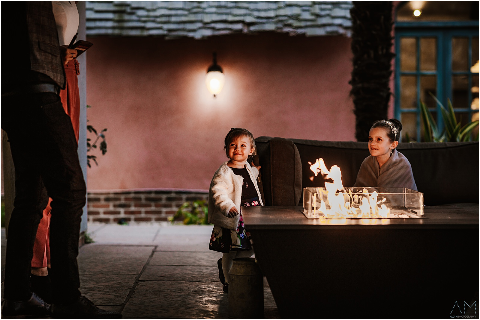 Little girls by the fire pit