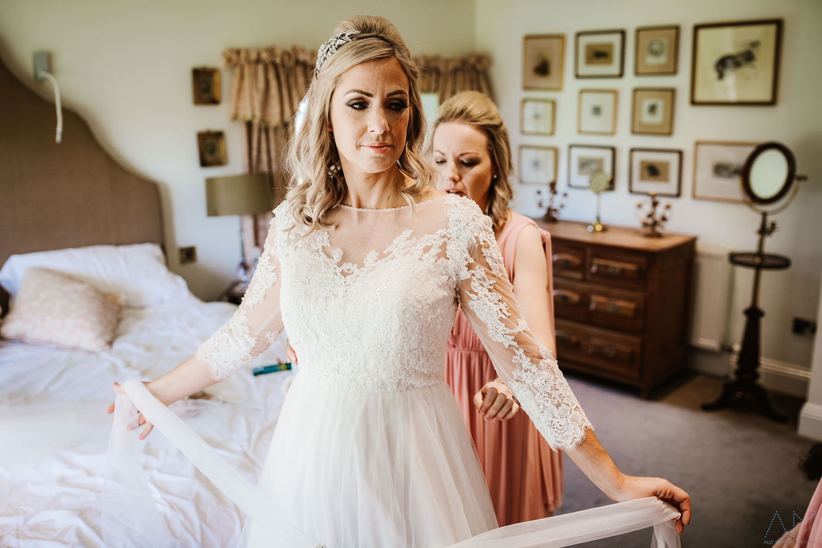 Bride in her wedding dress at the inn at whitewell