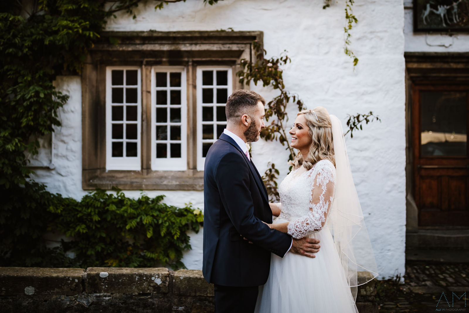 The Inn at Whitewell bride and groom