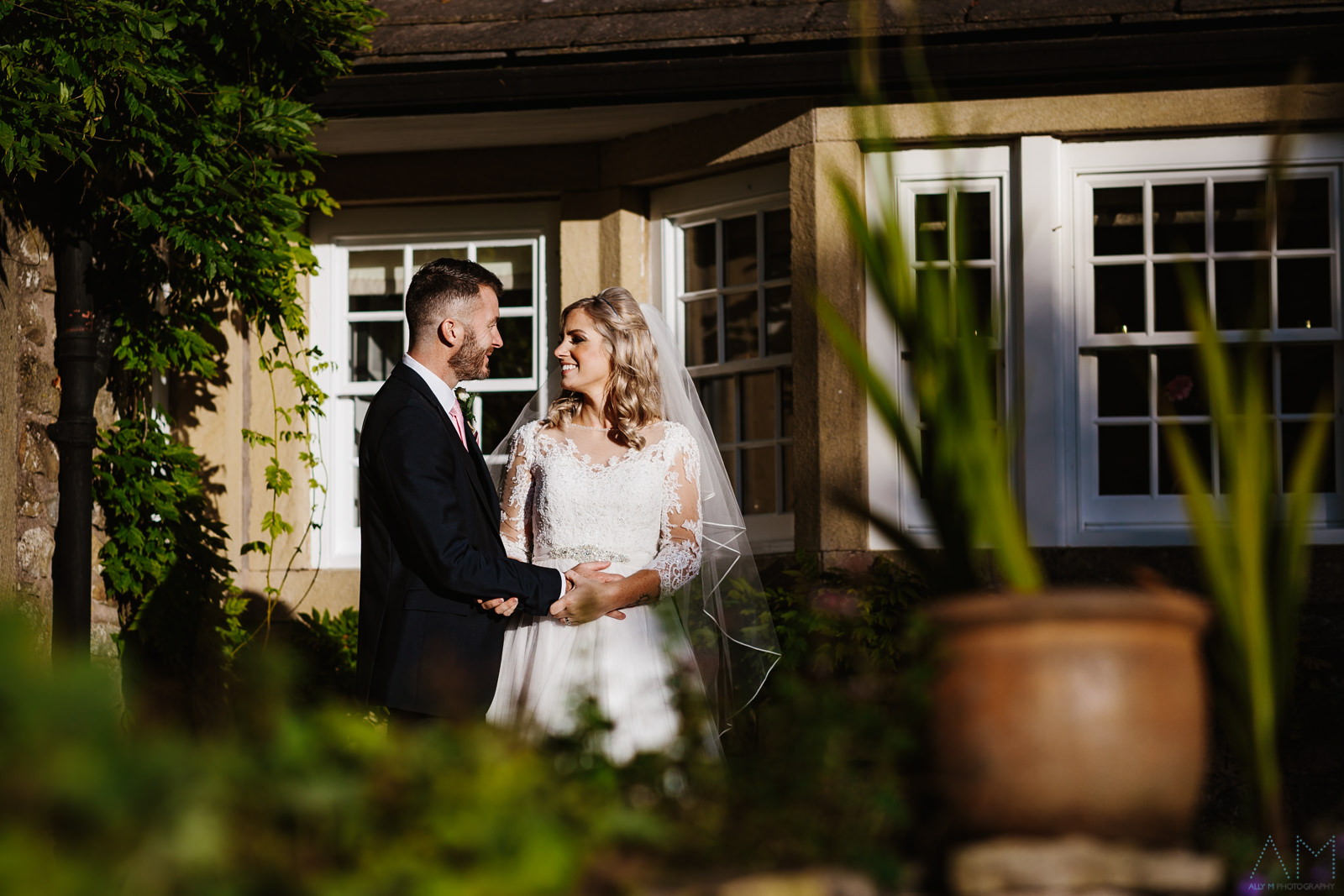 Bride and groom at The Inn At Whitewell