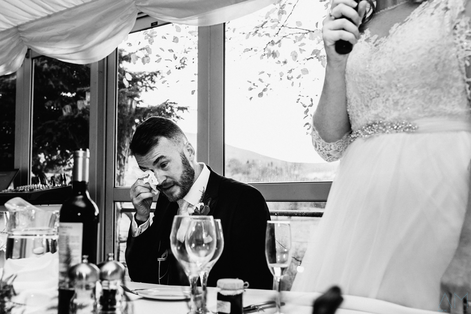 Groom crying during his brides speech