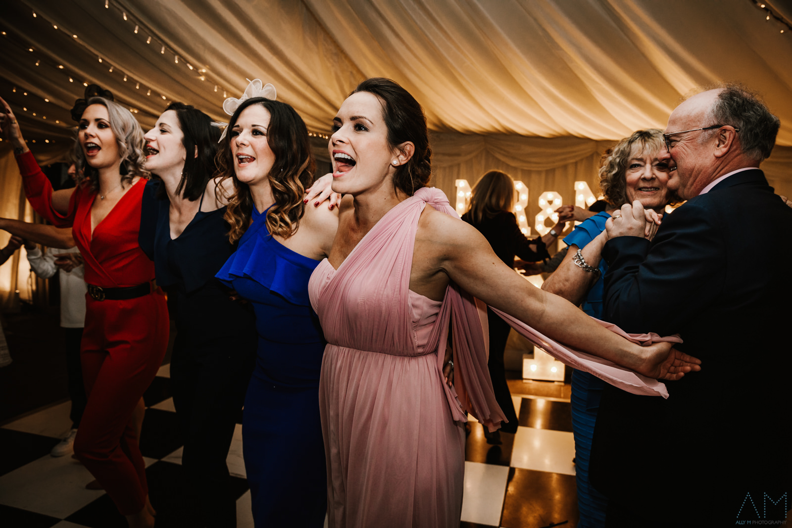 Wedding guests on the dance floor at the inn at Whitewell