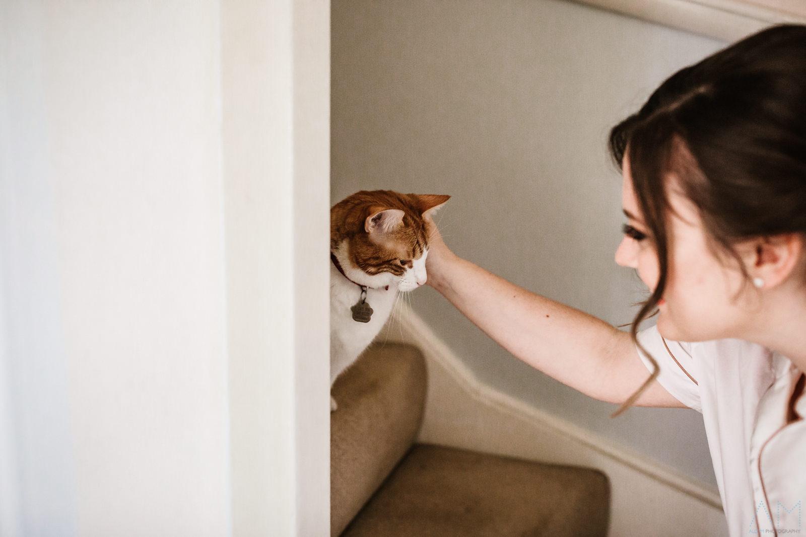 Bride stroking her cat