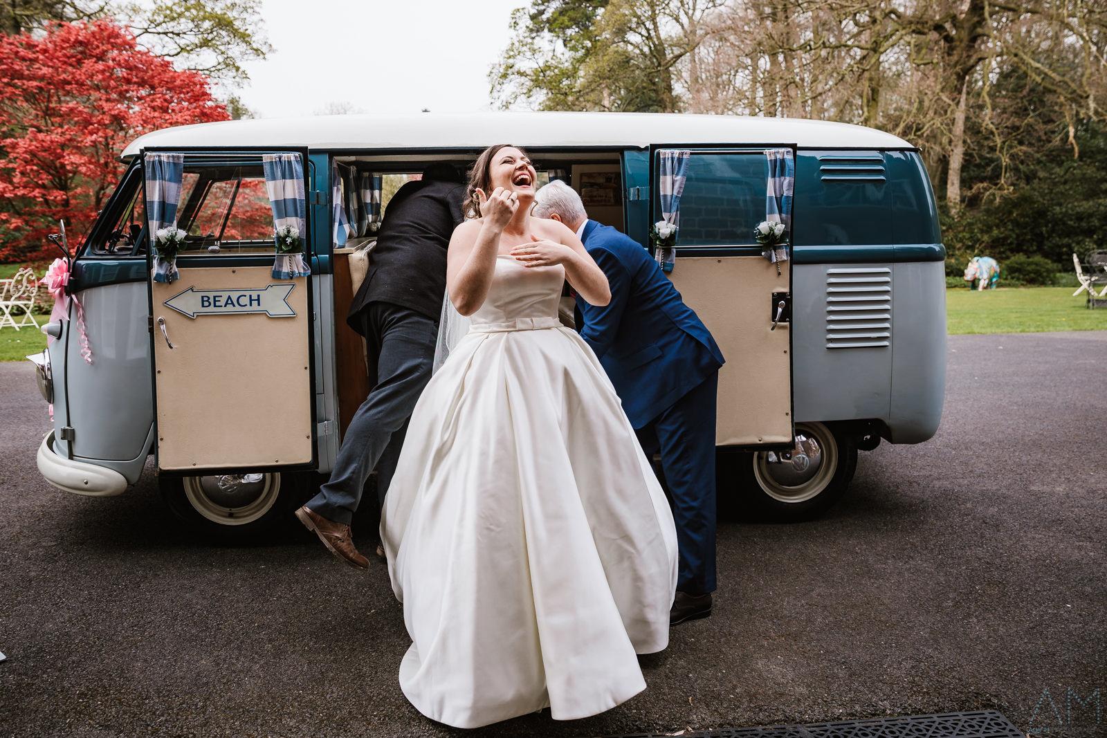 Bride arrives in camper van