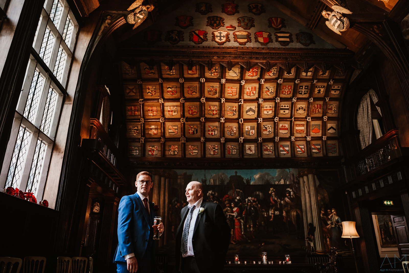 Groom with guest in Adlington Hall