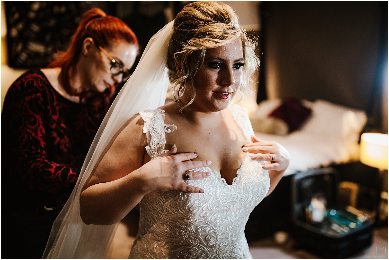 Bride in her wedding dress at Bartle Hall