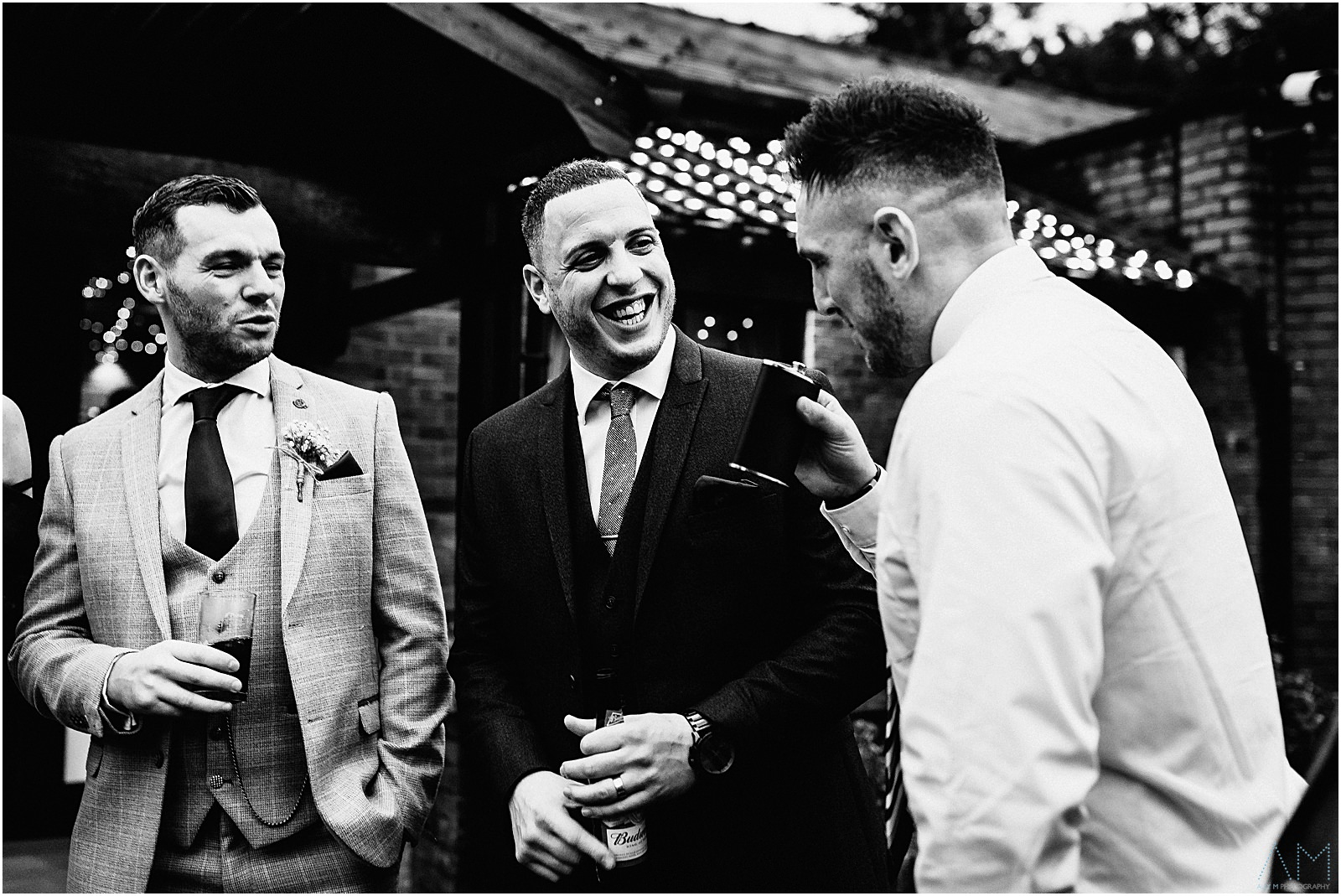 Wedding guests having a laugh