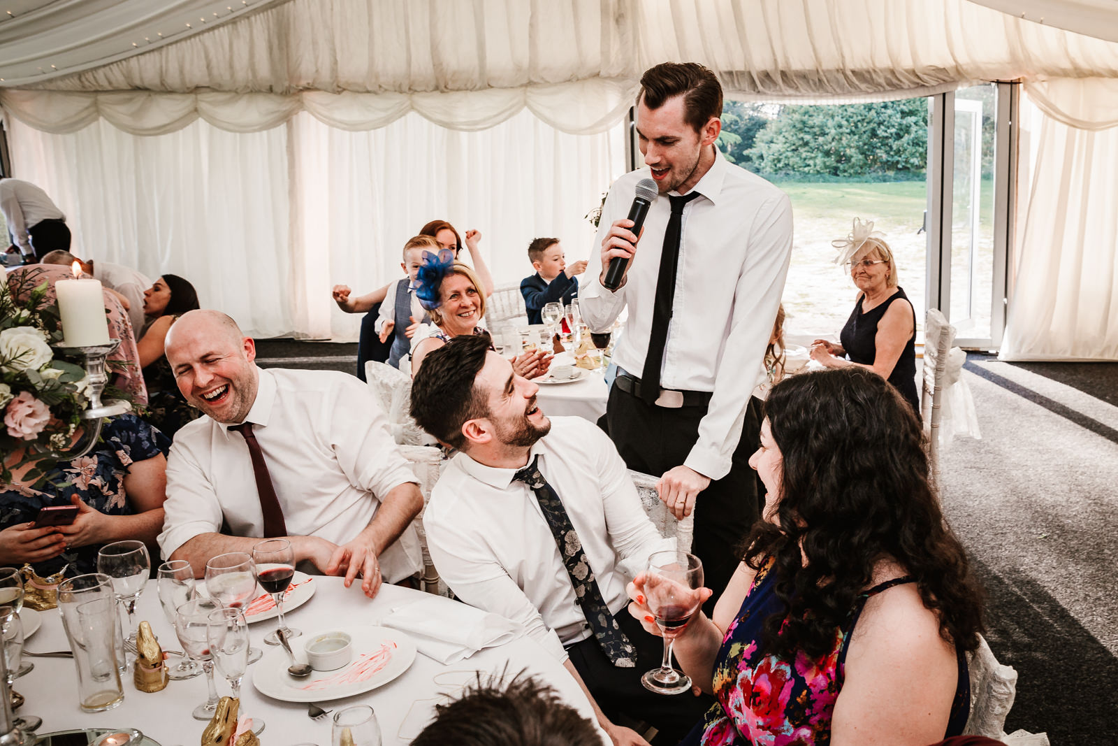Singing waiters entertaining