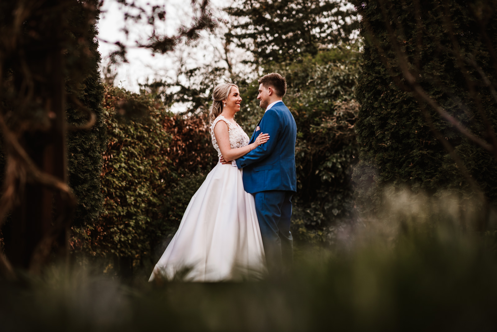 Bride and groom portraits at Nunsmere Hall