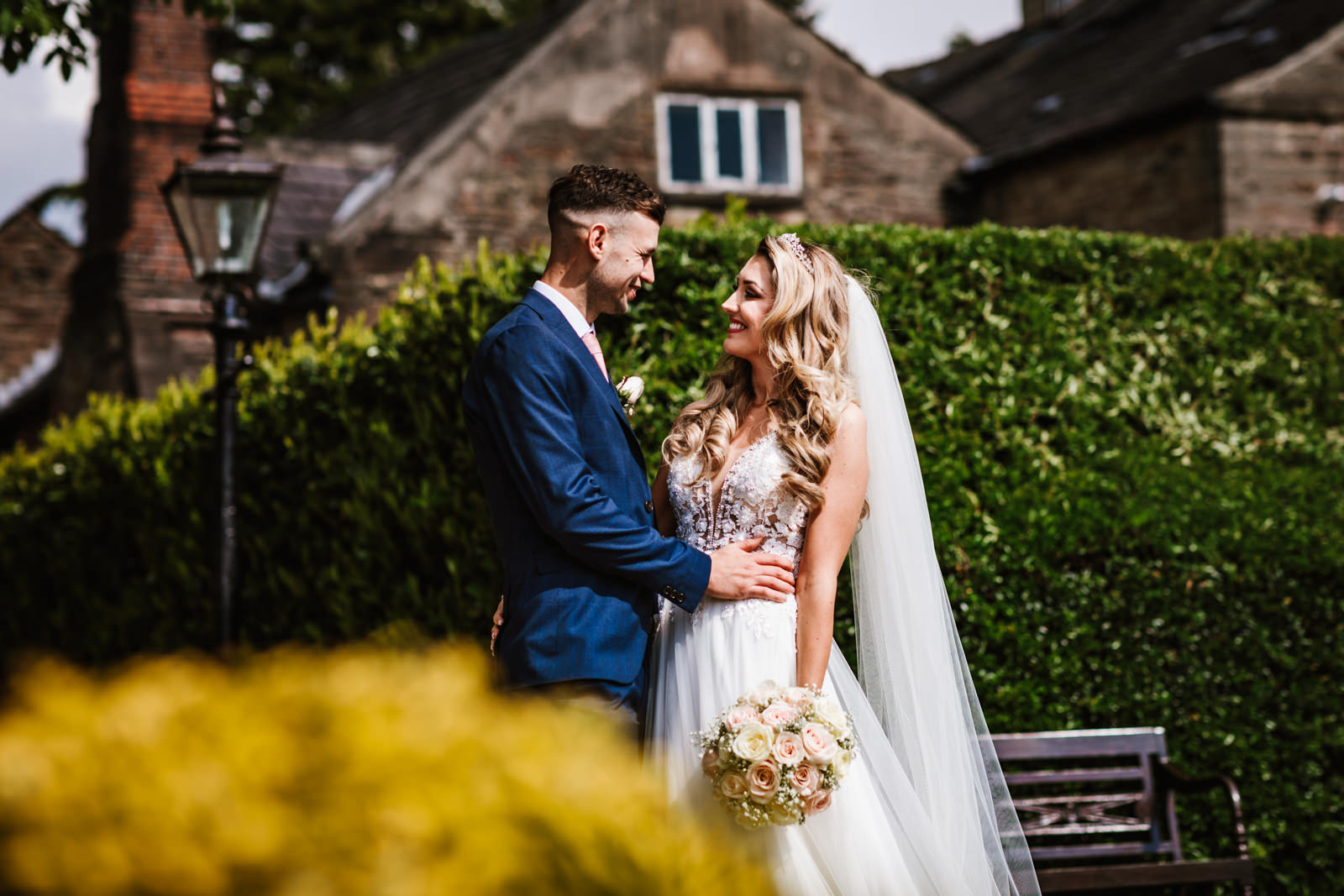 Bride and groom in the sunshine at Hyde Bank Farm