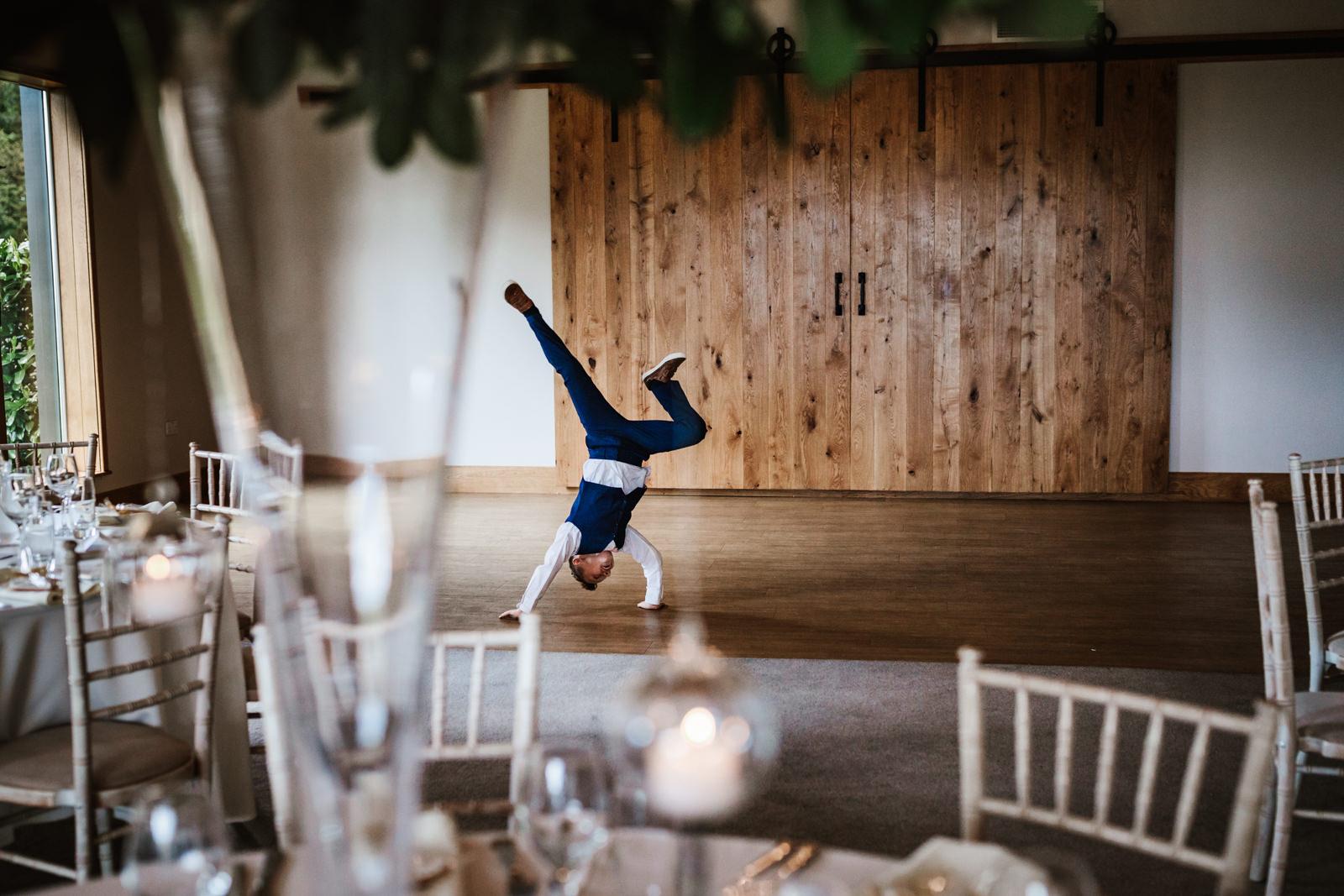 Boy doing a cartwheel