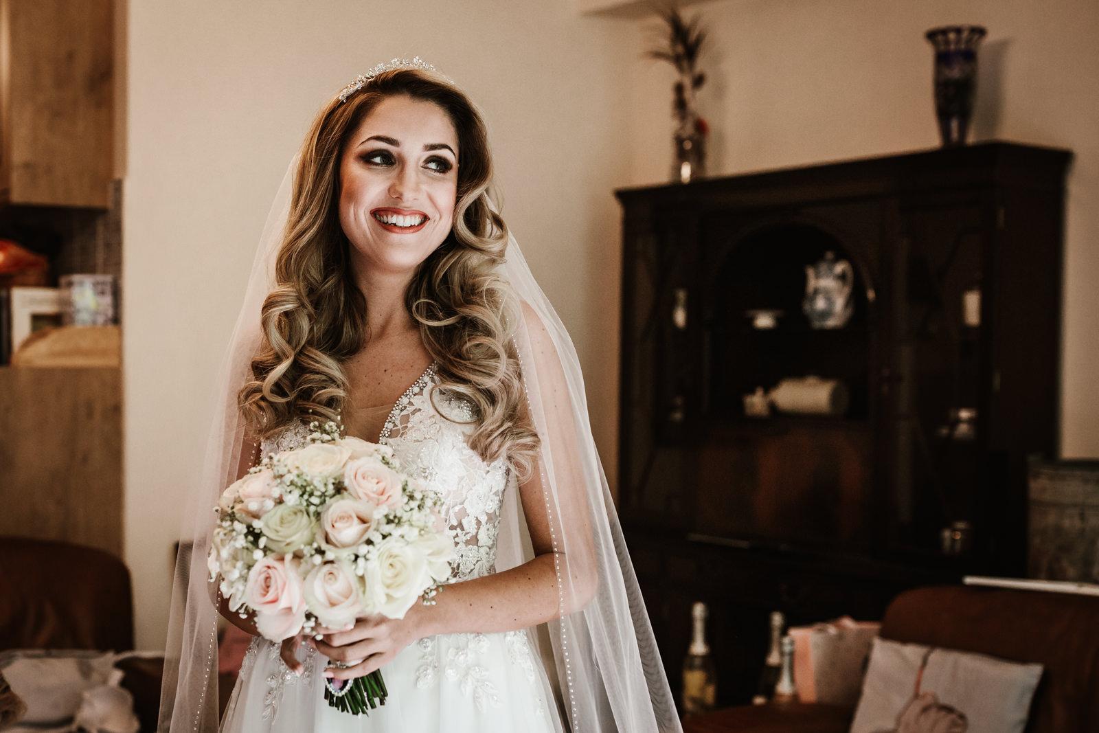 Bride in her wedding dressat Hyde Bank Farm