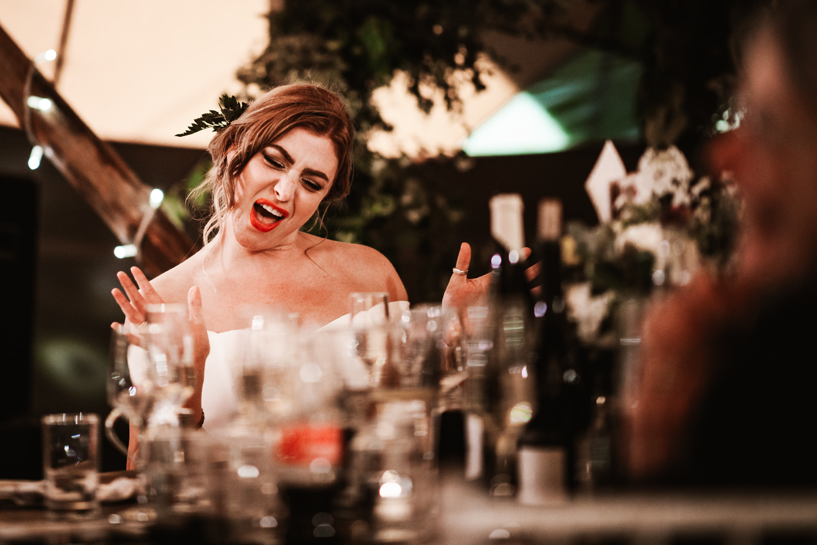 Bride throwing shapes