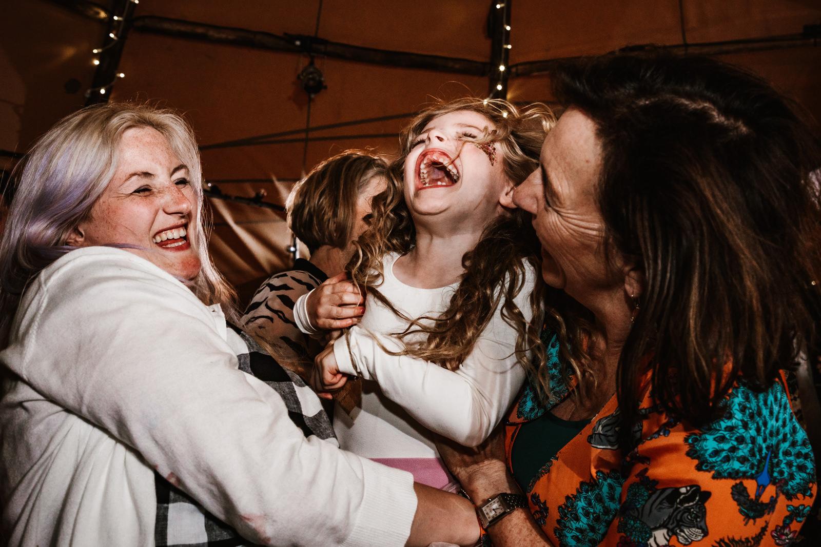 little girl having fun on the dance floor