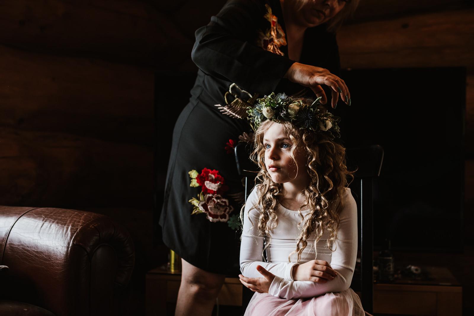 Little girl wearing her flower crown