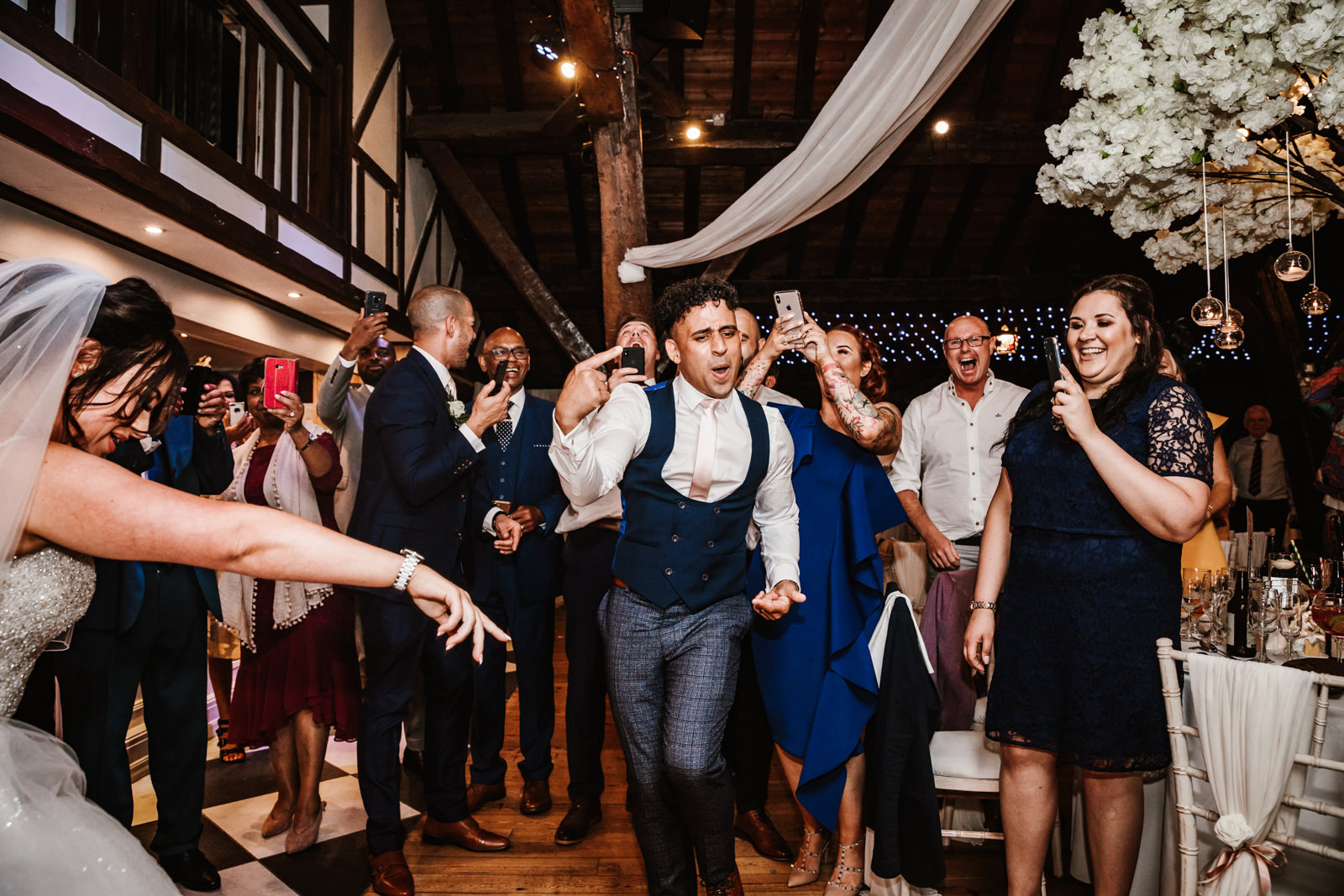 Bride and groom dancing at Rivington Barn