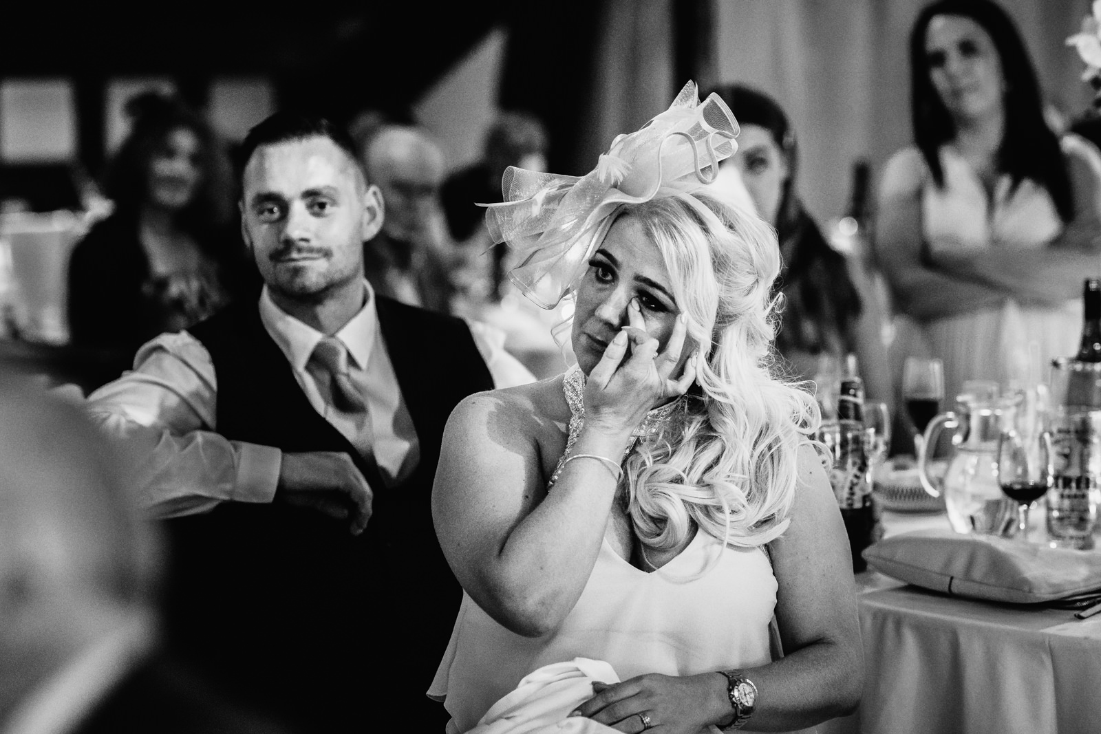 Wedding guest crying during emotional speech