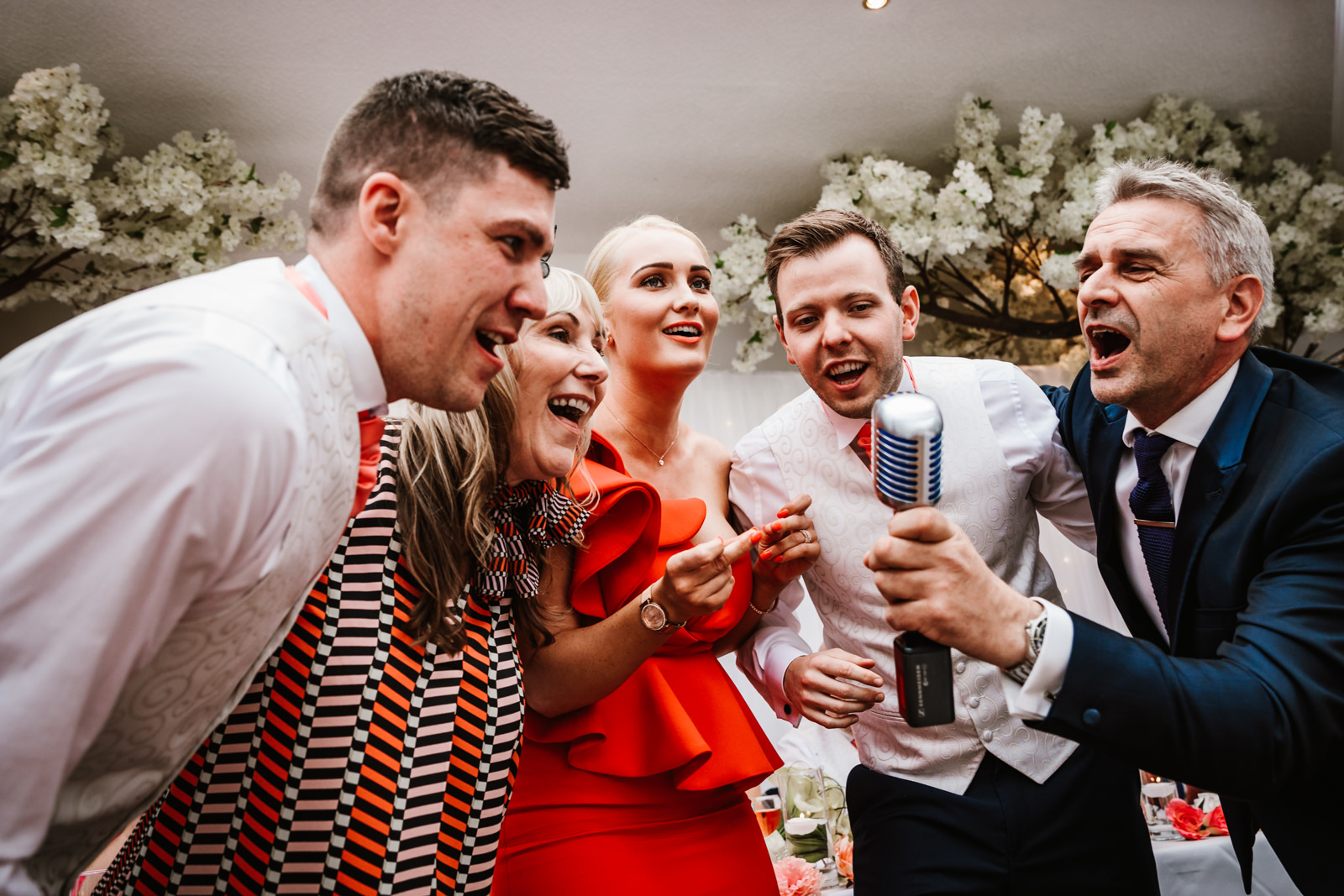 Wedding guests singing
