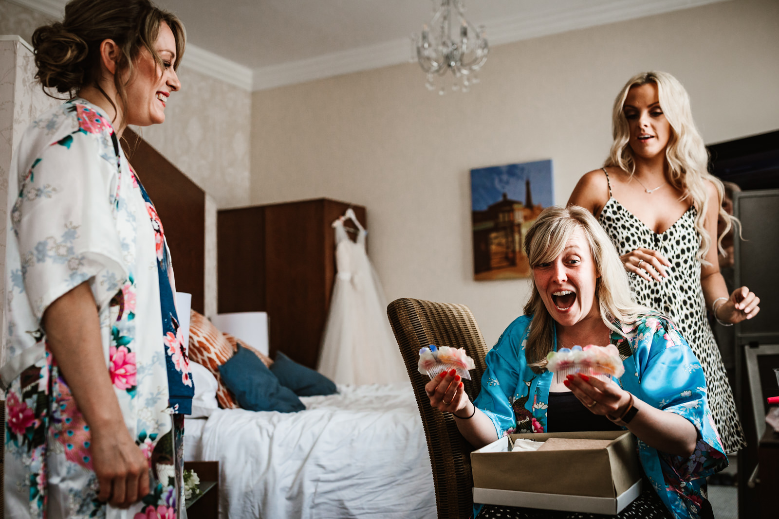Bridesmaid happy with her gift