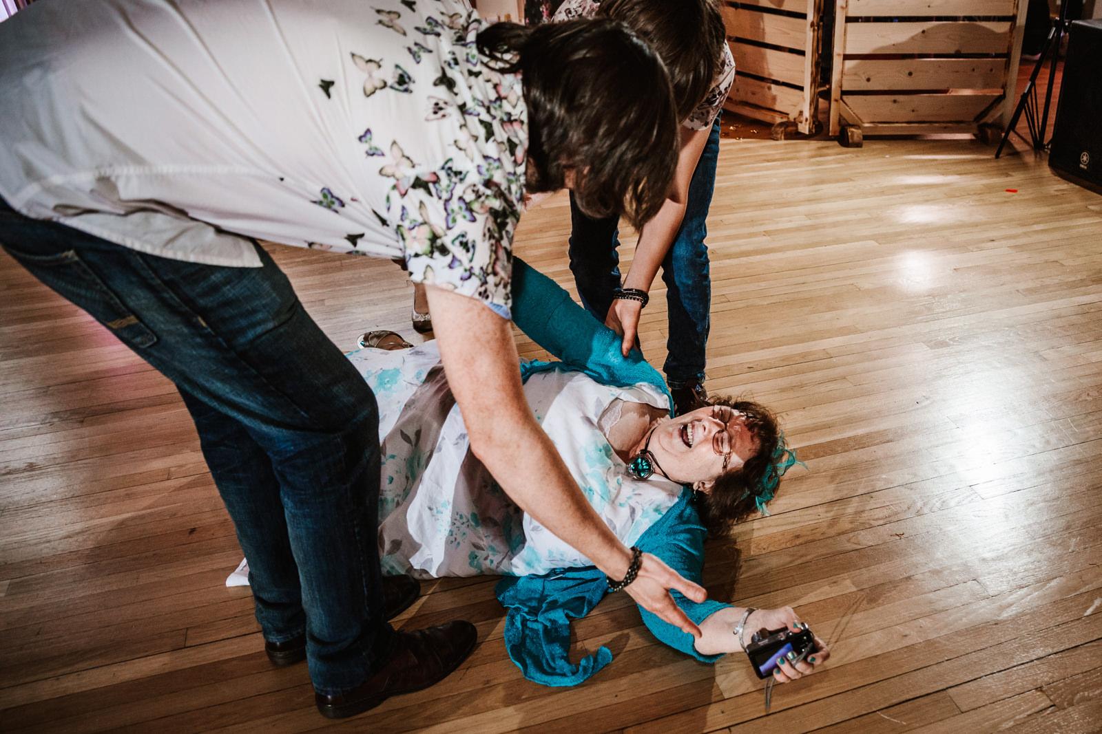 Woman falls dancing