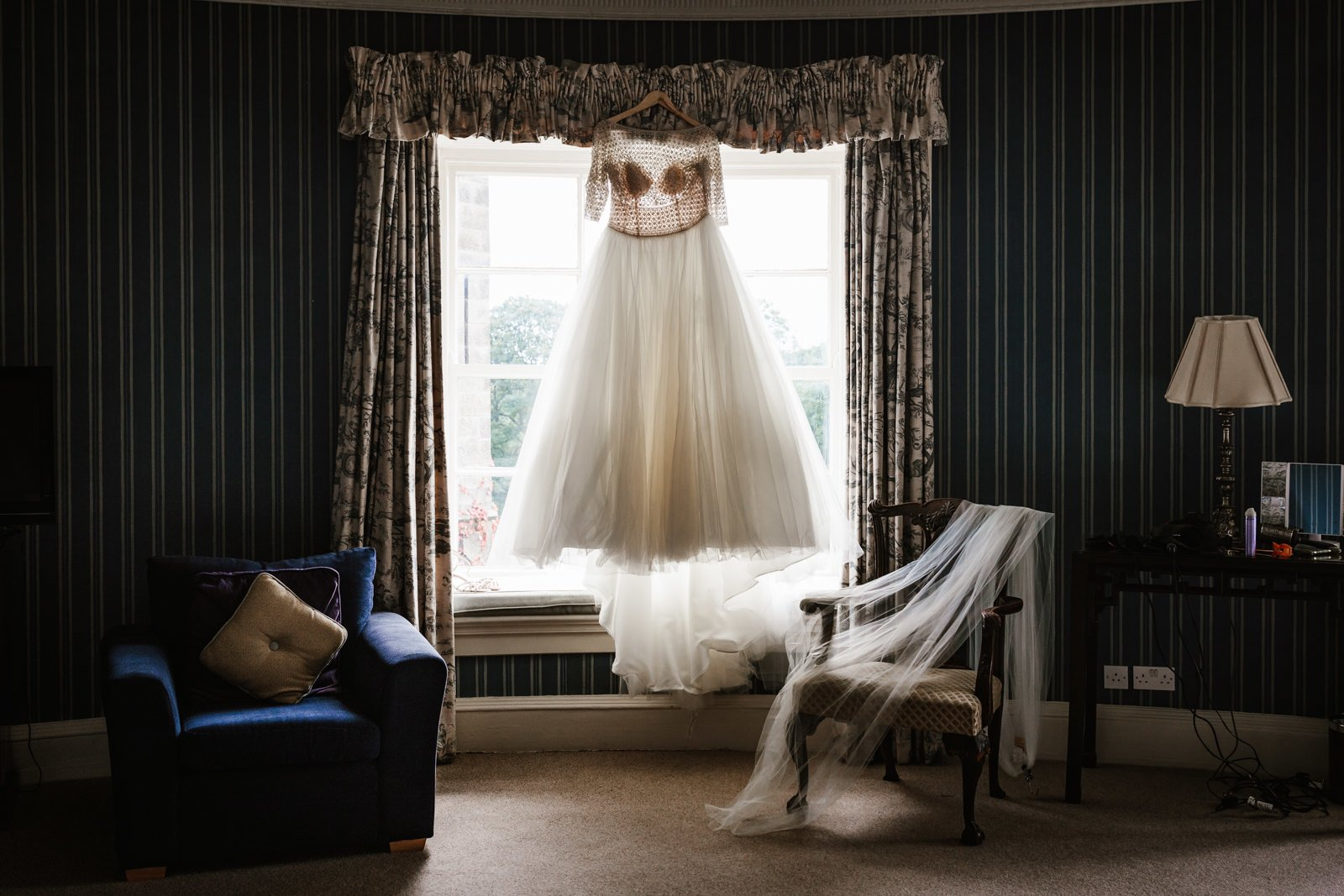 Wedding dress in the window atr Swinton Castle