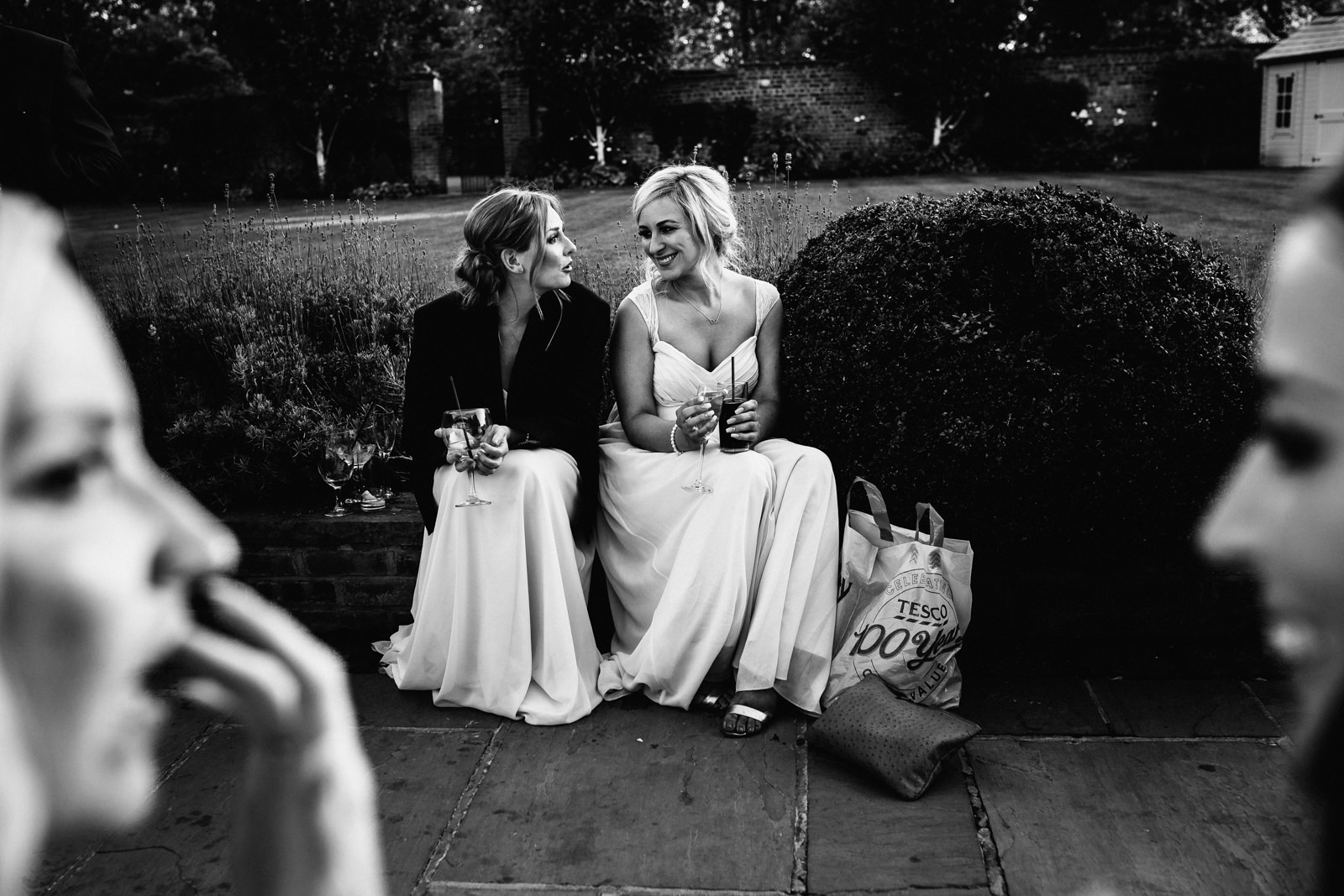 Bridesmaids in the gardens at Colshaw hall