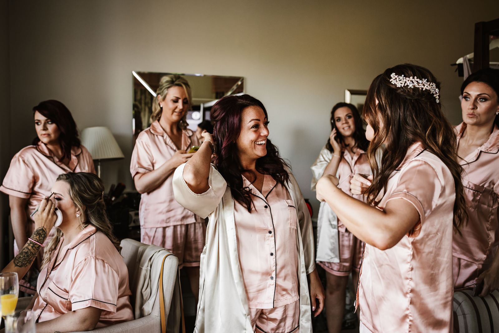 Bridesmaids getting ready at The Belsfield