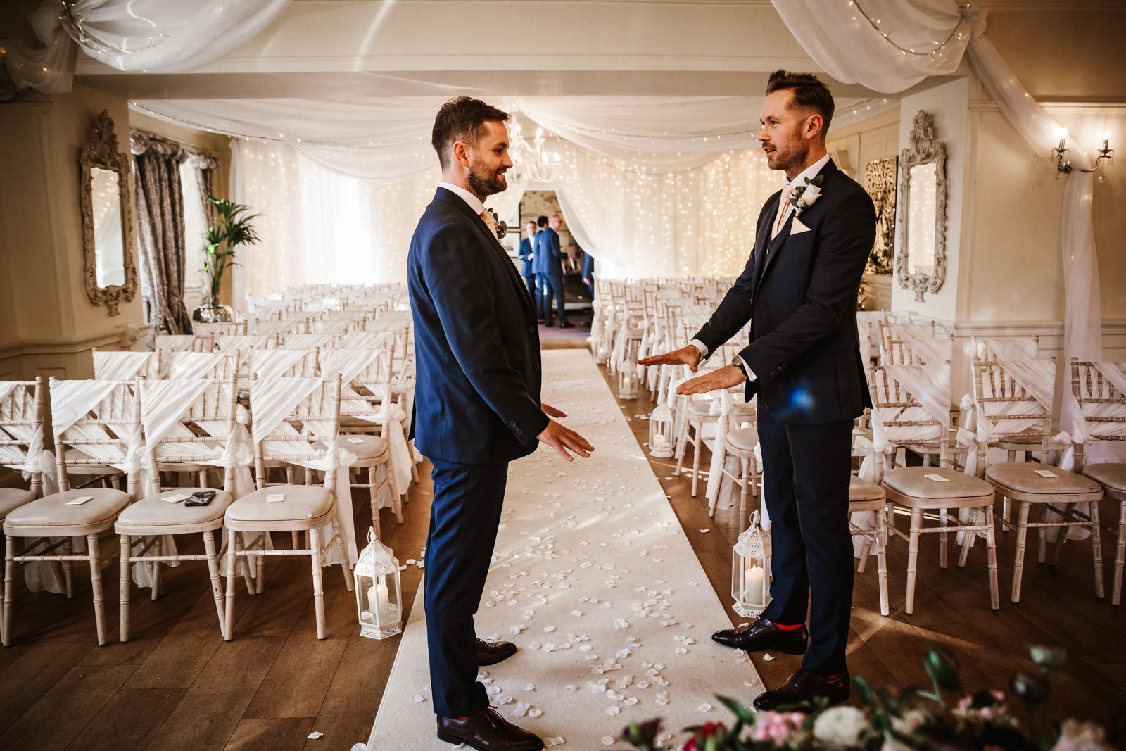 Nervous groom at Eaves Hall