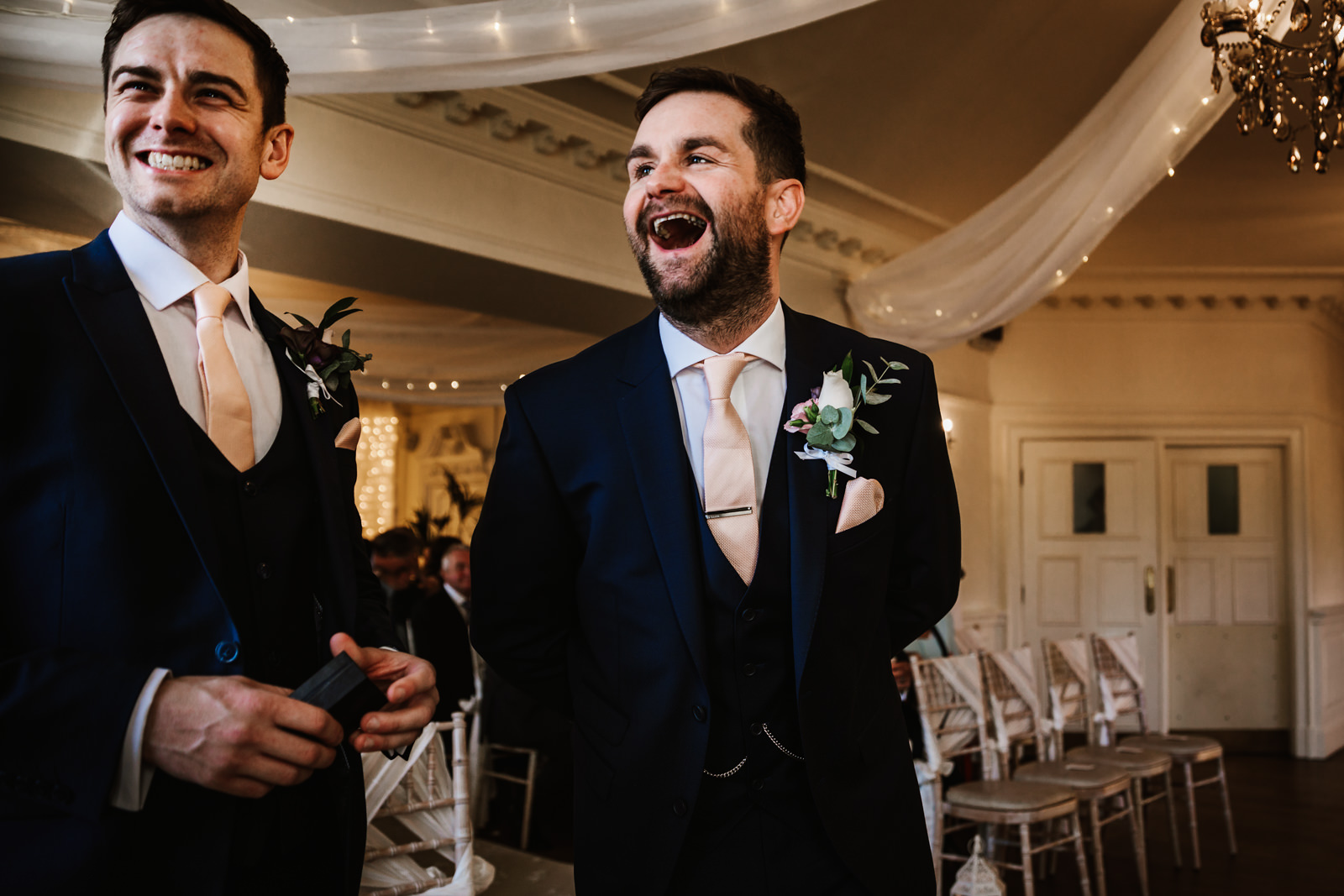 Laughing groom to be