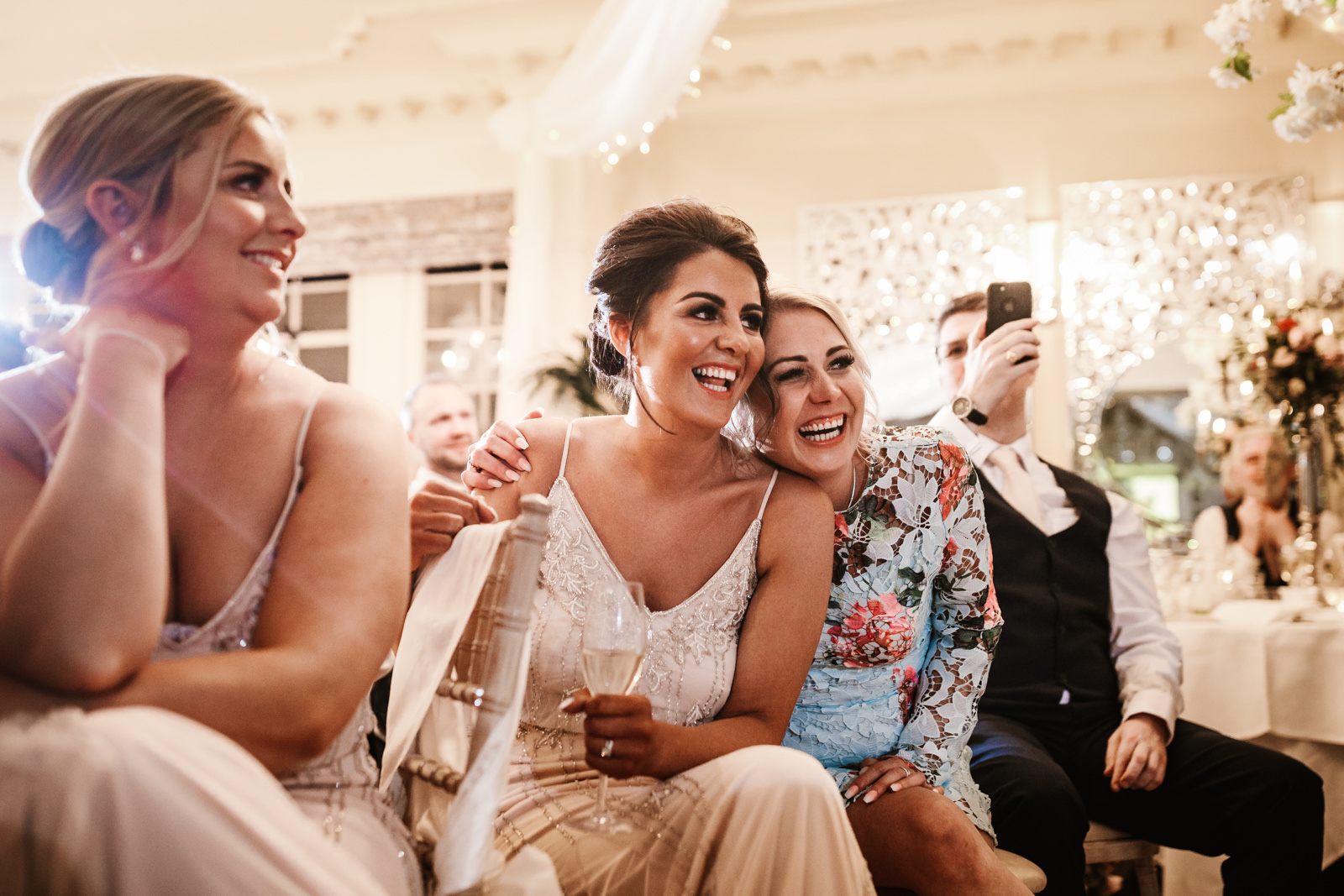 Bridesmaids during wedding speeches