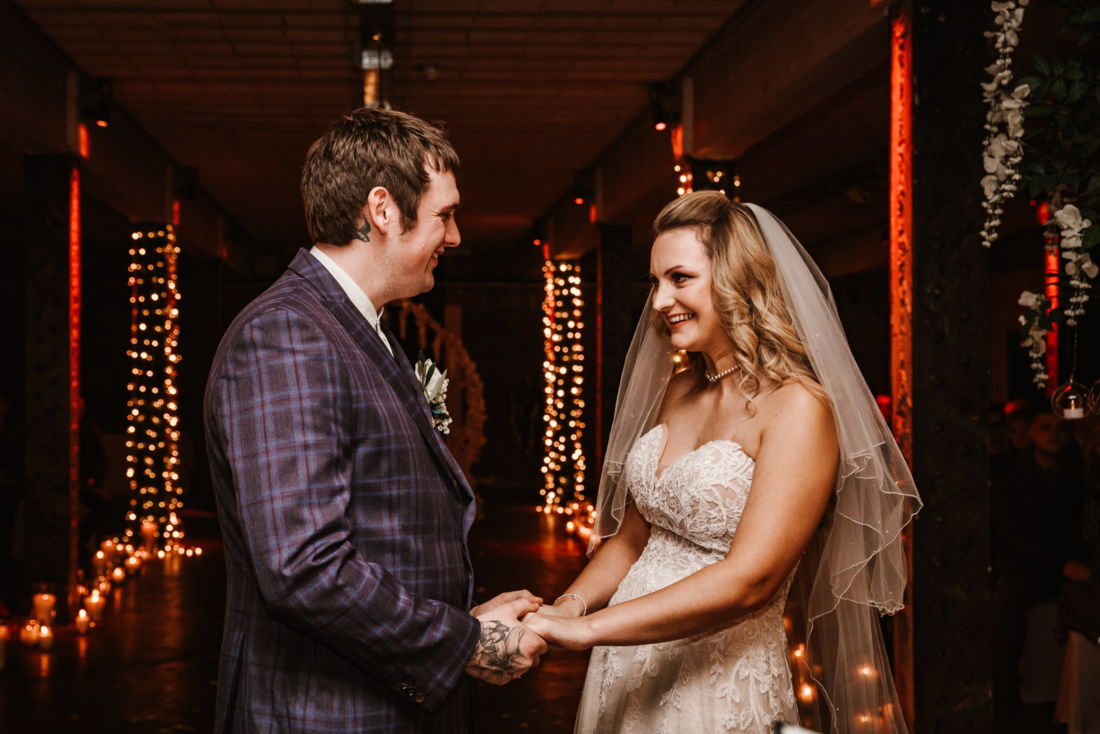 Bride and groom tie the knot at Victoria Warehouse