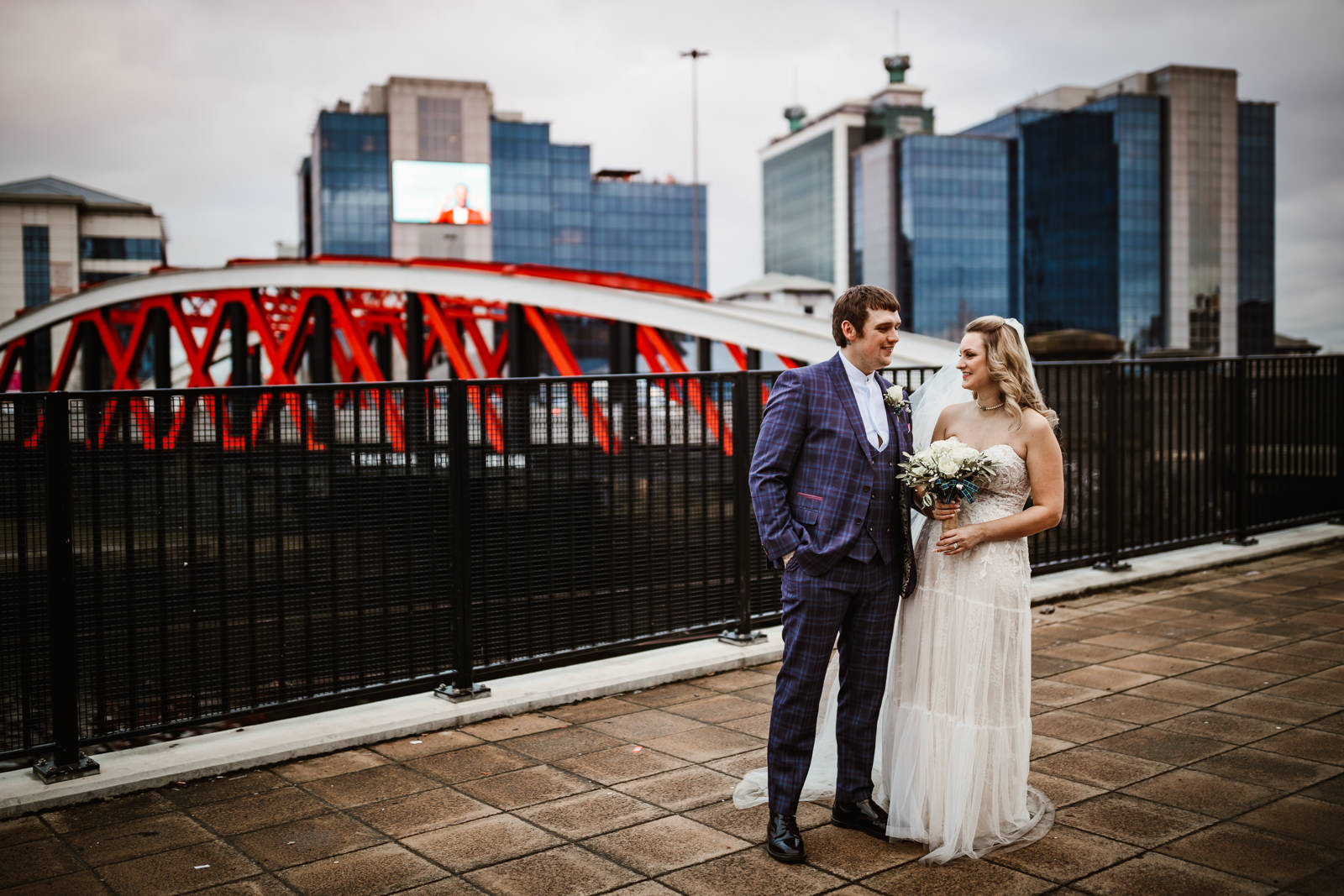 Bride and groom at Victoria warehouse