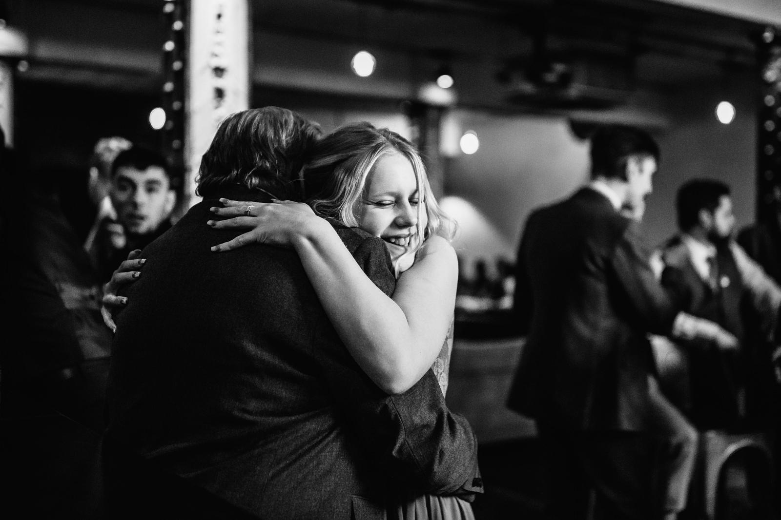 Girl gives a big hug
