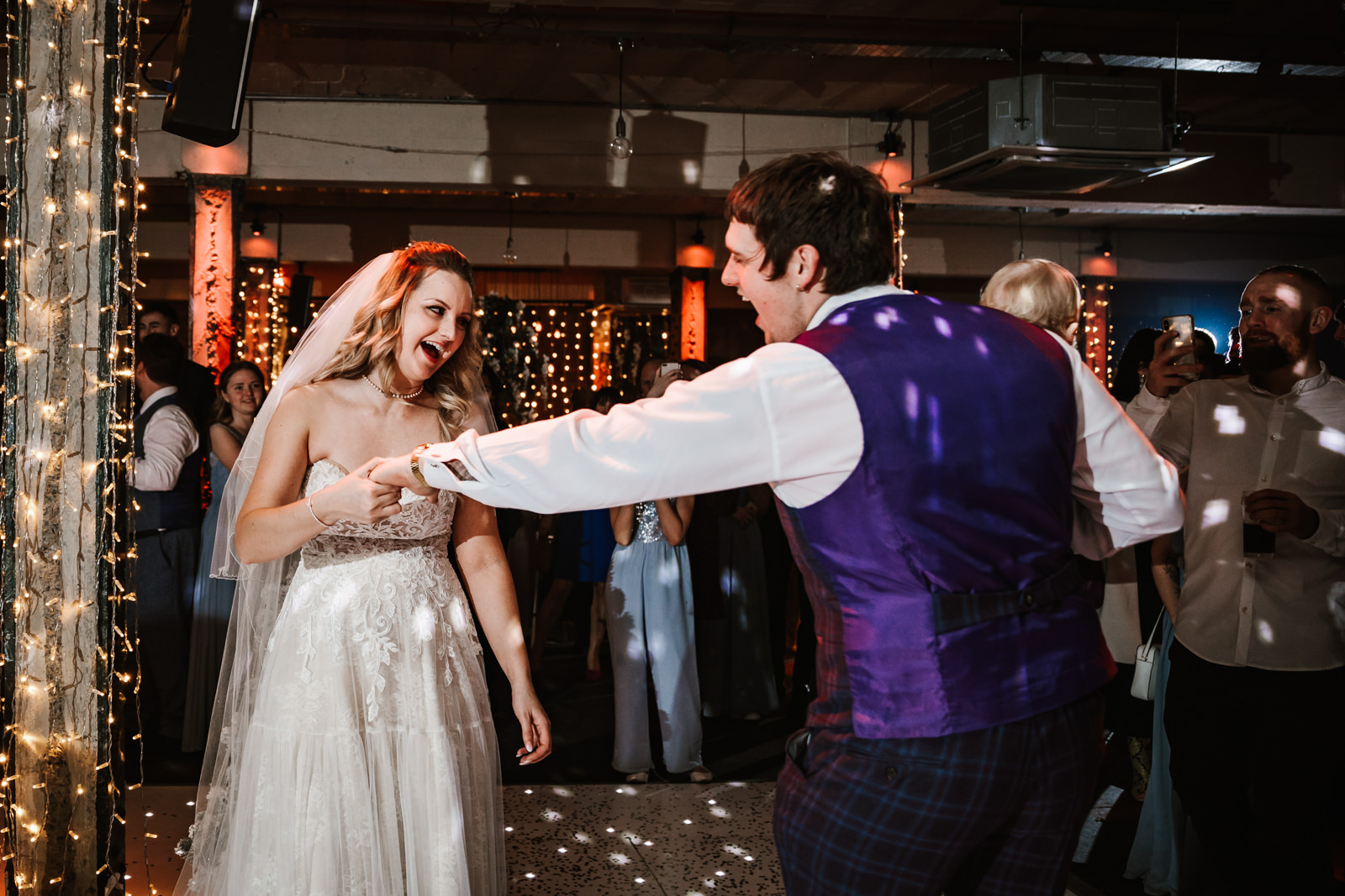 Bride and groom first dance Victoria Warehouse