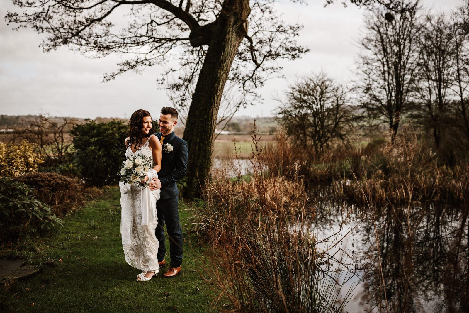 By the pond at Ashes Weddings Barns