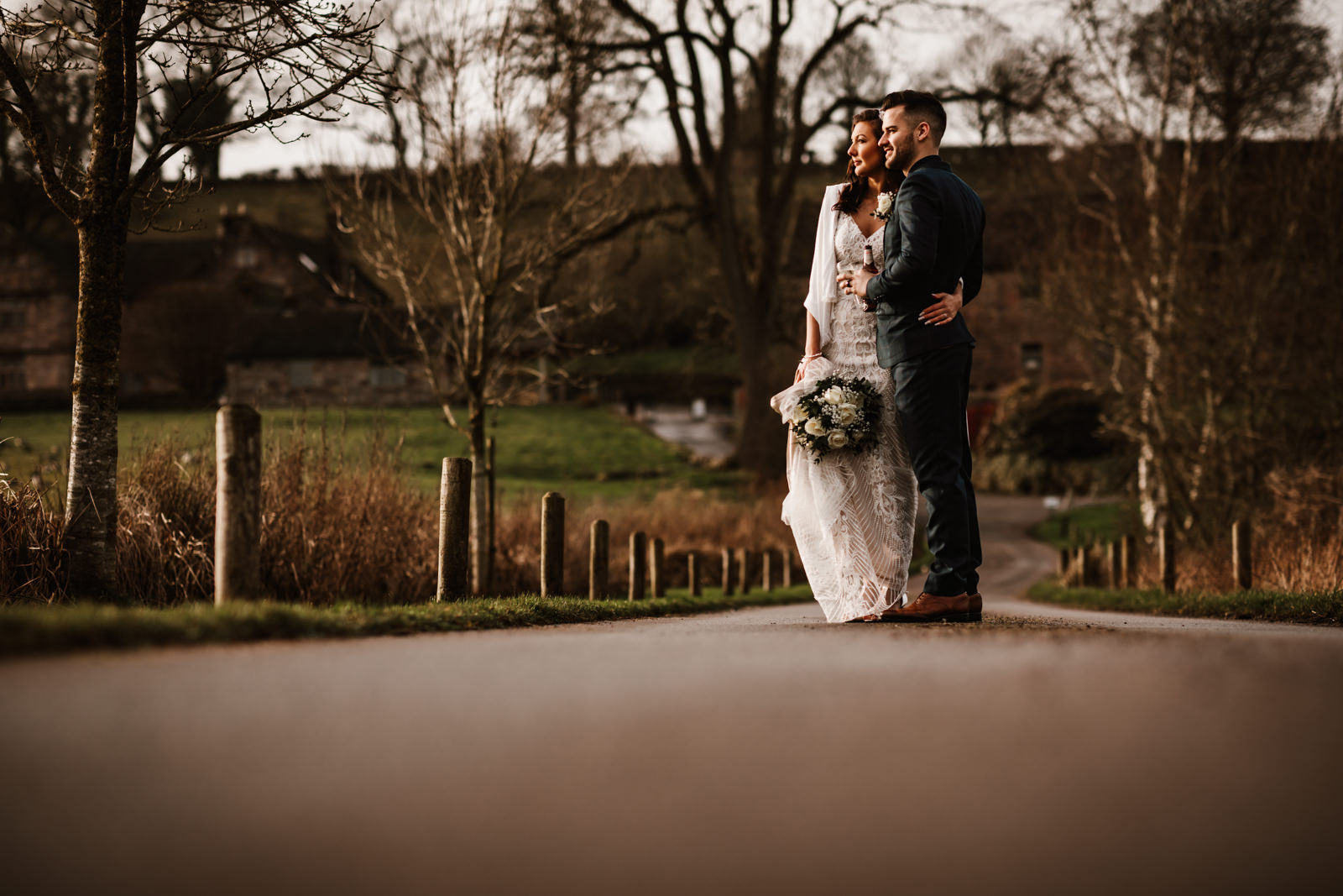 Golden hour at Ashes Wedding Barns